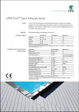 UPM Profideck műszaki leírás