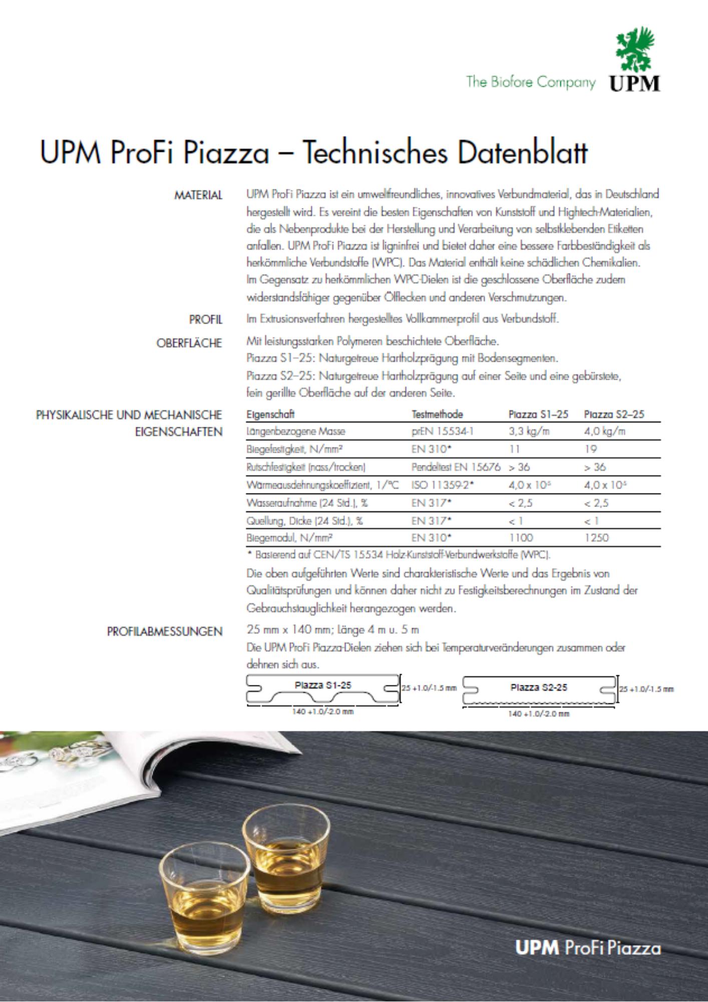 UPM Profi Piazza műszaki leírás
