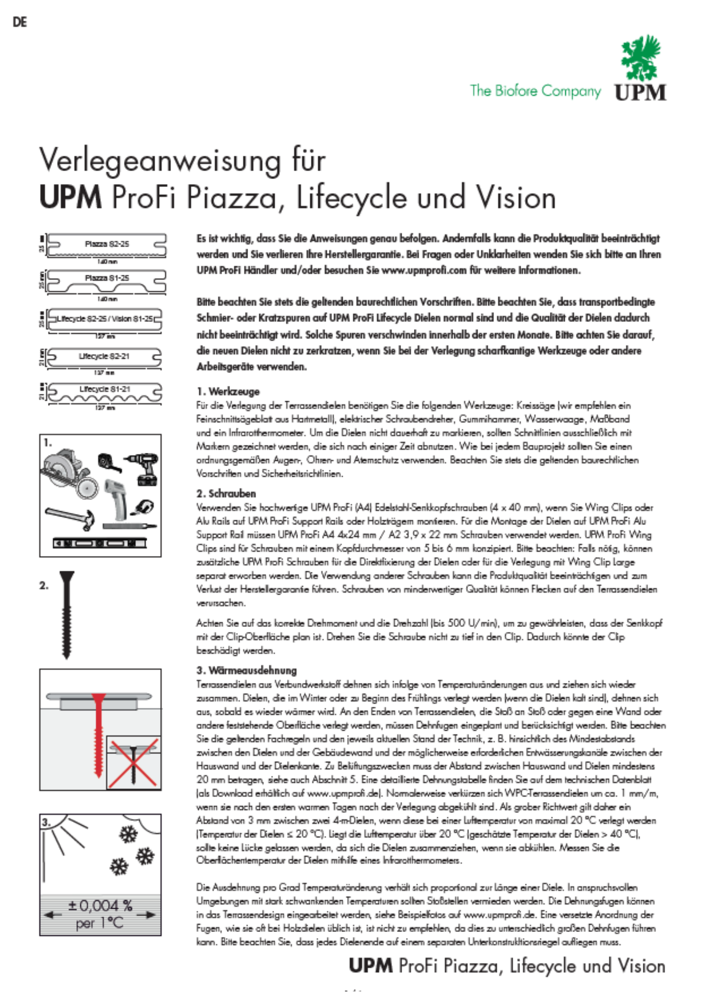 UPM Profi Piazza kivitelezési, lerakási útmutató